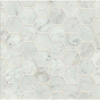 MRBWHTCARHEX-H - White Carrara Mosaic - White Carrara