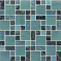 GLSMGICPG3 - Ice Crackle Glass Mosaic Mosaic - Blue