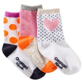 OshKosh Bgosh Girl 3-Pack Heart Crew Socks Multi