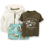Carters  Boys 3 Piece Hooded French Terry Cardigan Short Set Olive