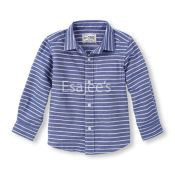 The Childrens Place Boy Long Sleeve Striped Oxford Shirt Blue