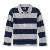 The Children's Place  Boy Long Sleeve Striped Polo Shirt H/t Grey