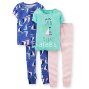 Carters Girls Fit Cotton Pajamas 4piece