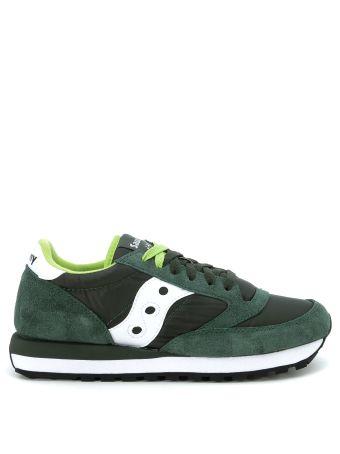 Sneaker Saucony Modello Jazz In Suede E Nylon Verde Scuro
