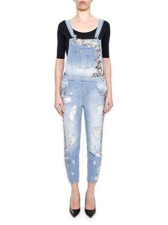 Embroidered Denim Dungarees