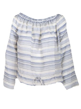 Theory Off-shoulder Striped Blouse