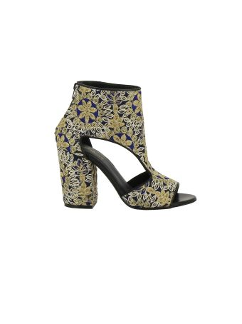 Elena Iachi Floral Embroidered Sandals