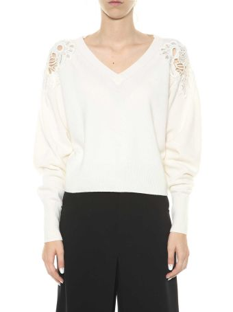 Chloé Wool Sweater With Lace Patches