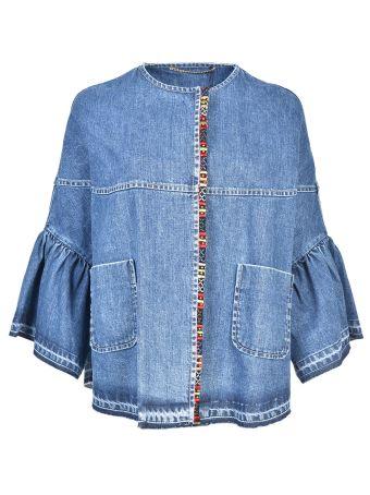 Bazar Deluxe Cropped Sleeves Denim Jacket