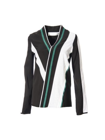 Victoria Beckham Multicolor Striped Print Shirt