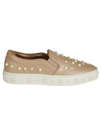 Aquazzura Cosmic Pearls Slip-on Sneakers