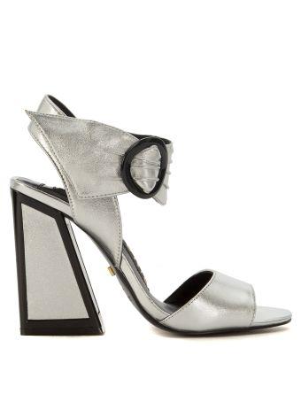Sandalo Con Tacco Kat Maconie Ray In Pelle Argento