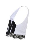 Black Lace Trim White Cotton Tank Top