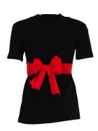 Msgm Black Round Neck T-shirt With Bow