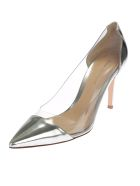 Silver Leather Pumps With Transparent Details