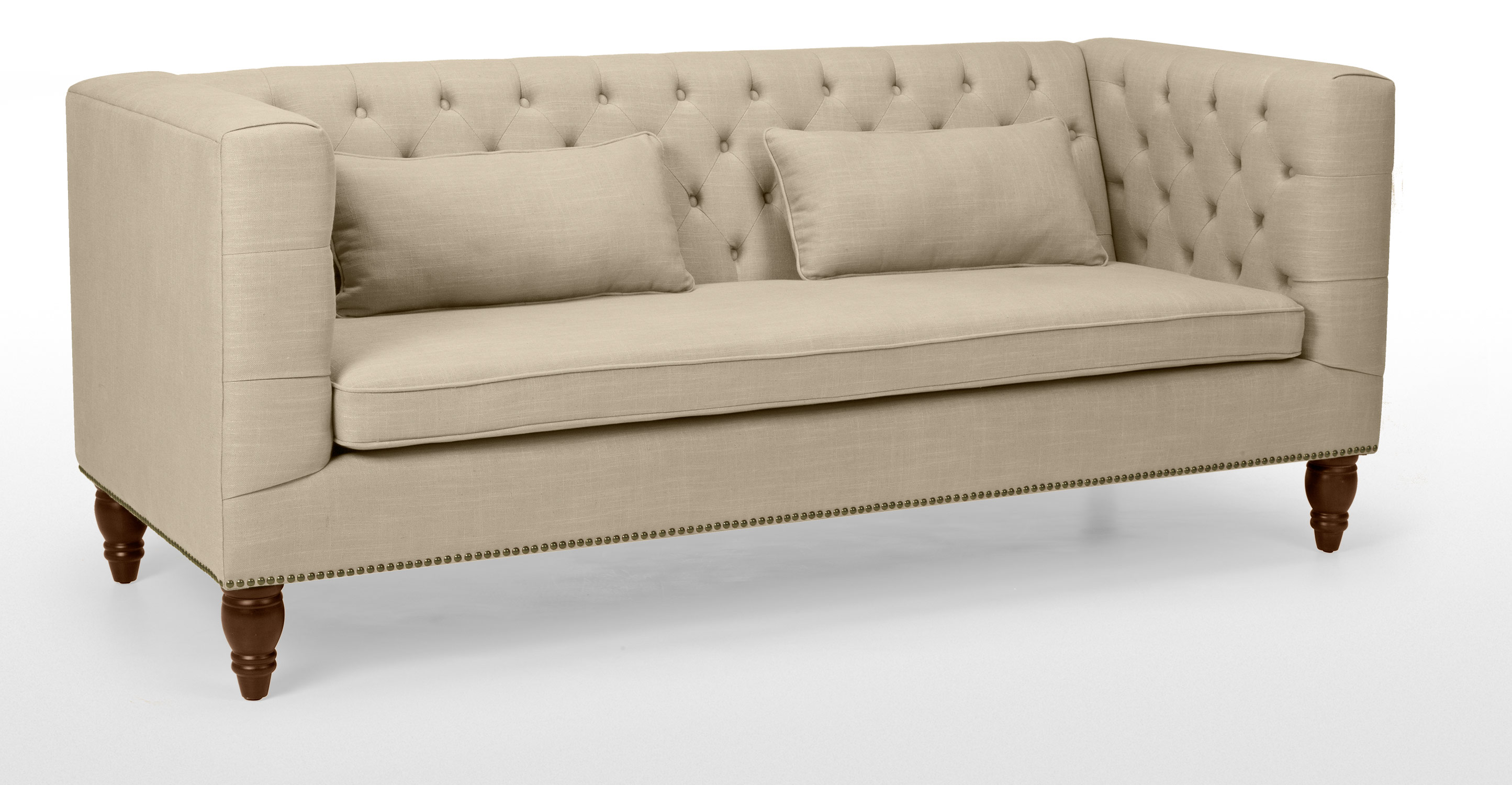 flynn 3 seater sofa chesterfield fabric settee biscuit beige. Black Bedroom Furniture Sets. Home Design Ideas