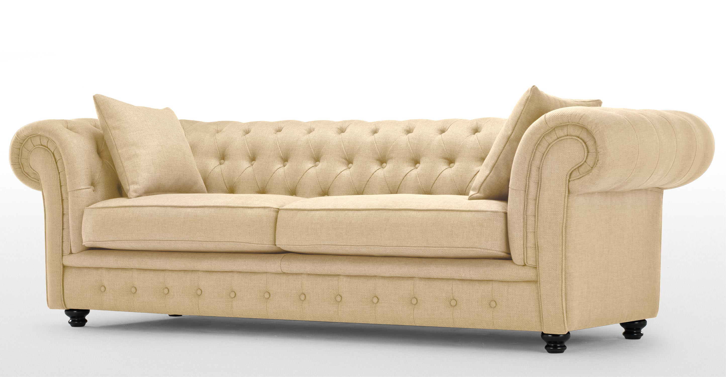Branagh 3 seater chesterfield sofa in barley beige - Canape chesterfield beige ...