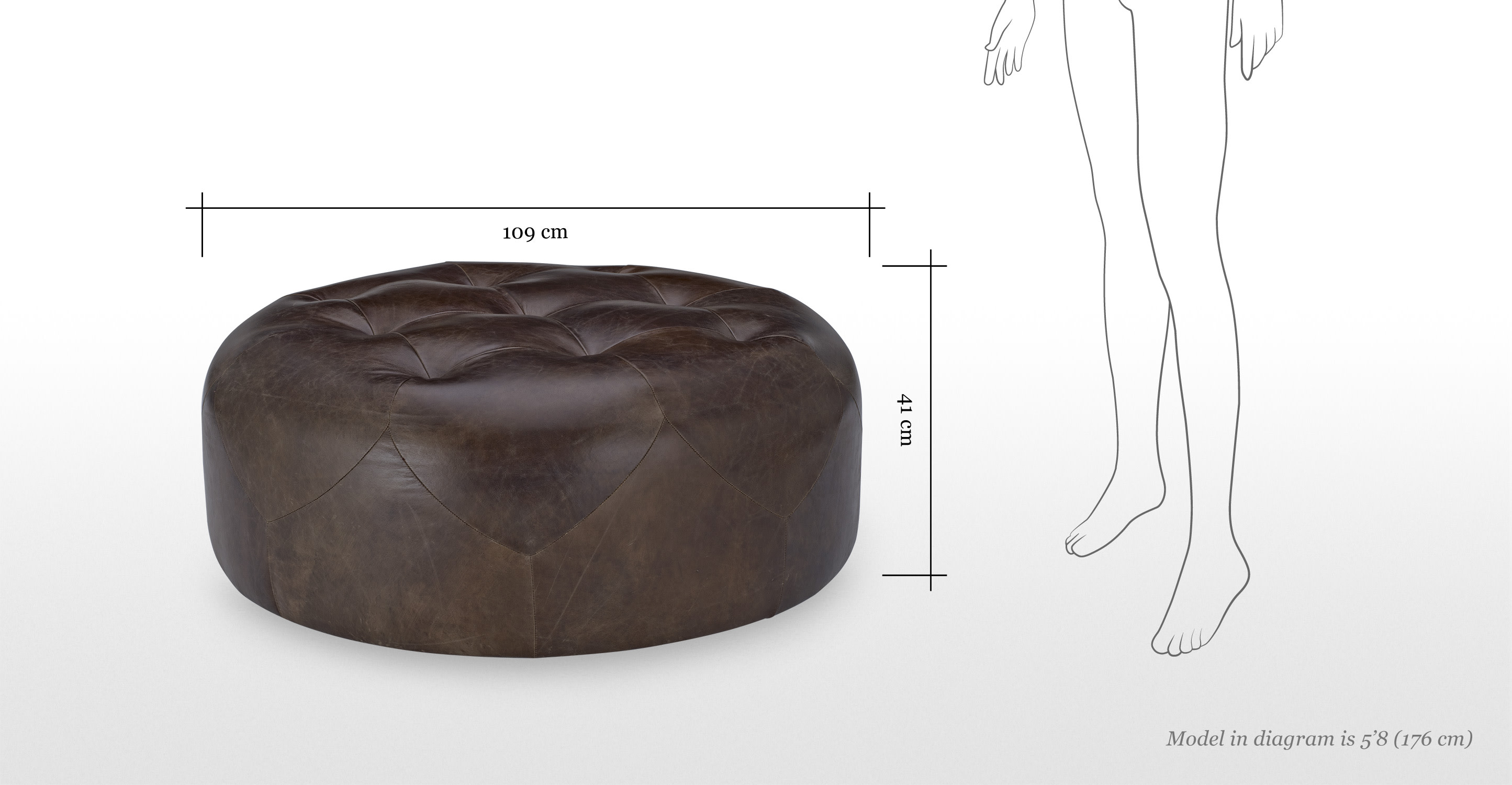 scott large round ottoman in vintage brown premium leather. Black Bedroom Furniture Sets. Home Design Ideas