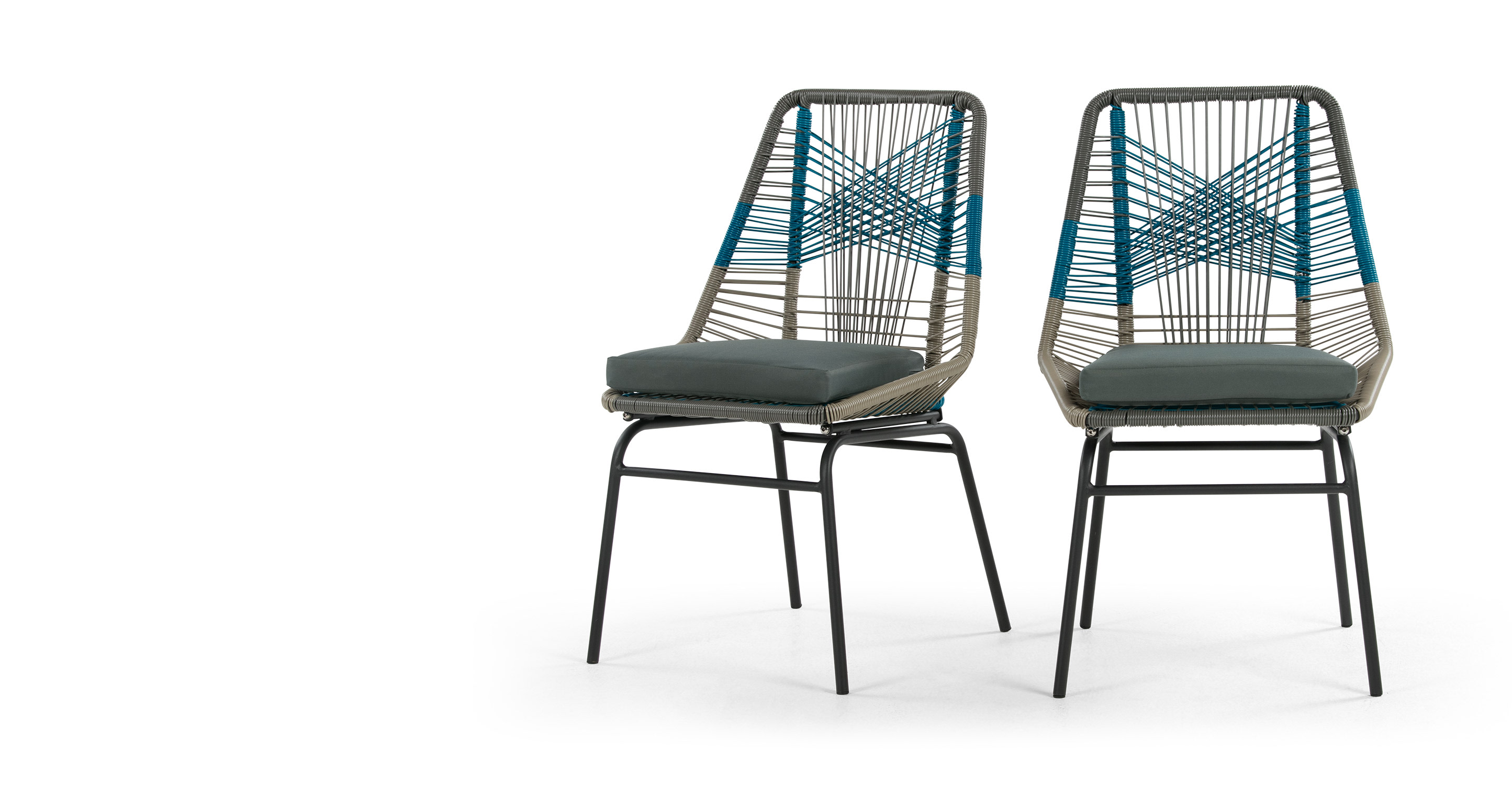 Of outdoor dining chairs in cool blue by made studio