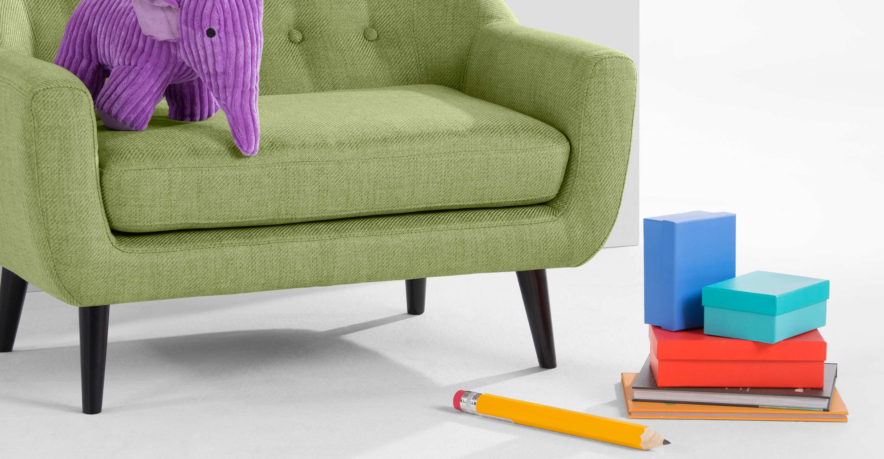 Mini ritchie 2 seater sofa lime green for Lime green sofa