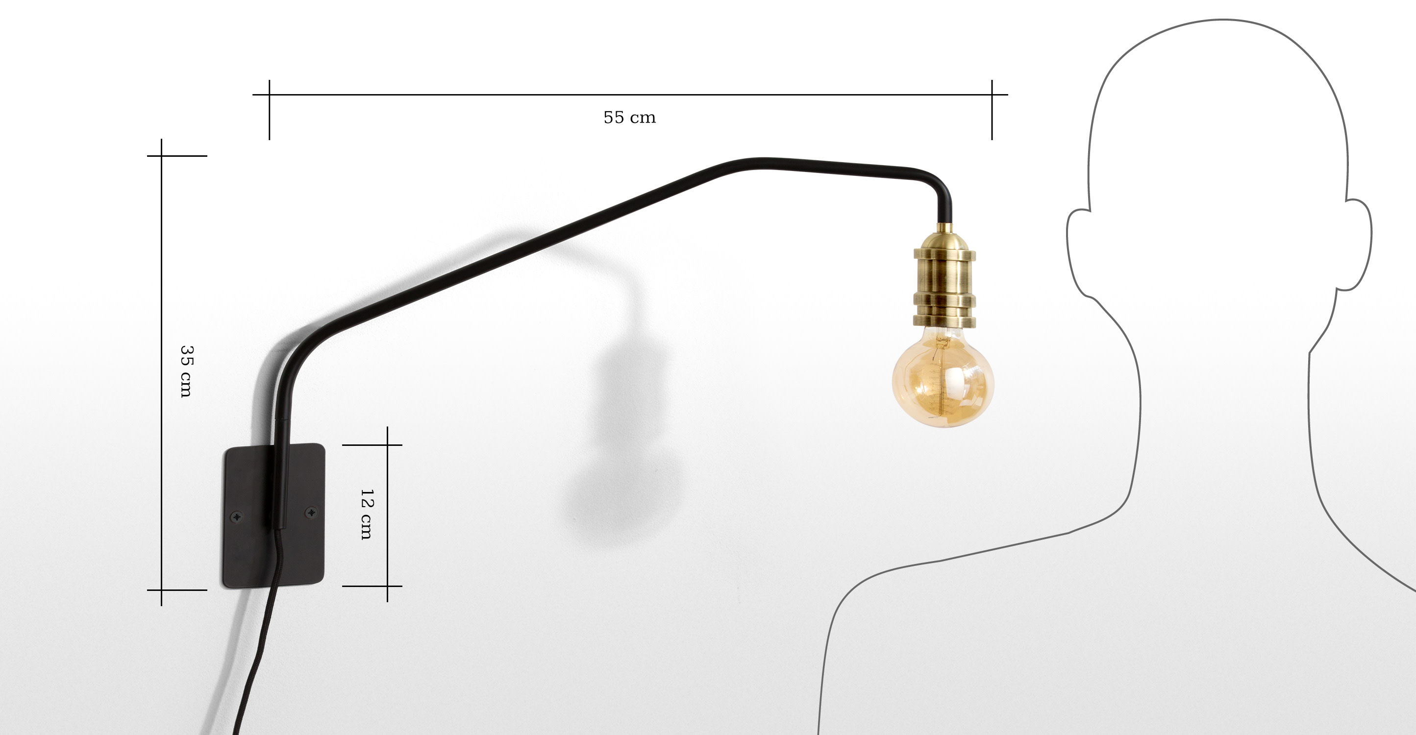 Starkey Wall Lamp Black And Brass : Starkey Wall Lamp, Black and Brass made.com