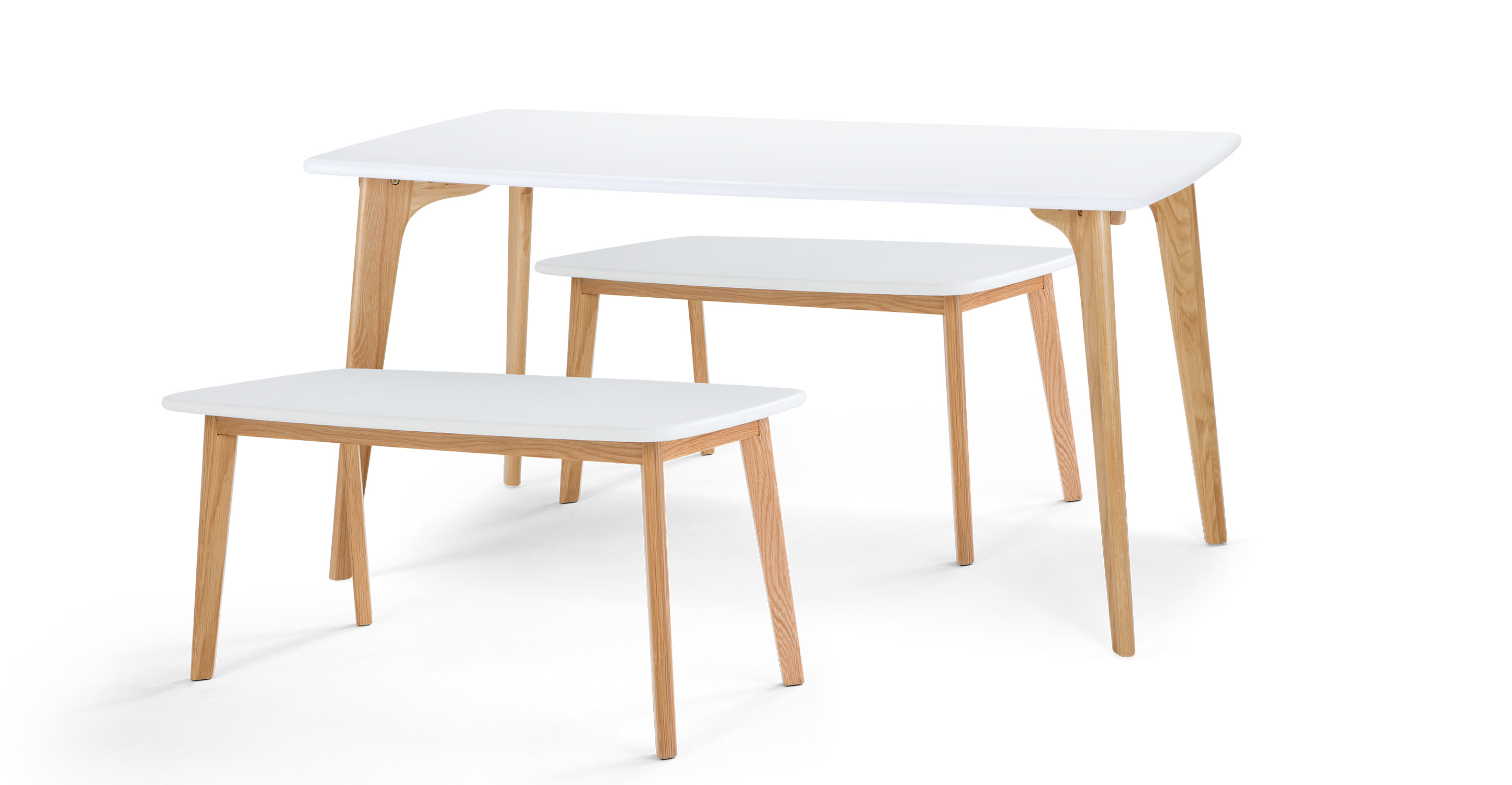 Fjord Rectangle Dining Table And Bench Set Oak And White