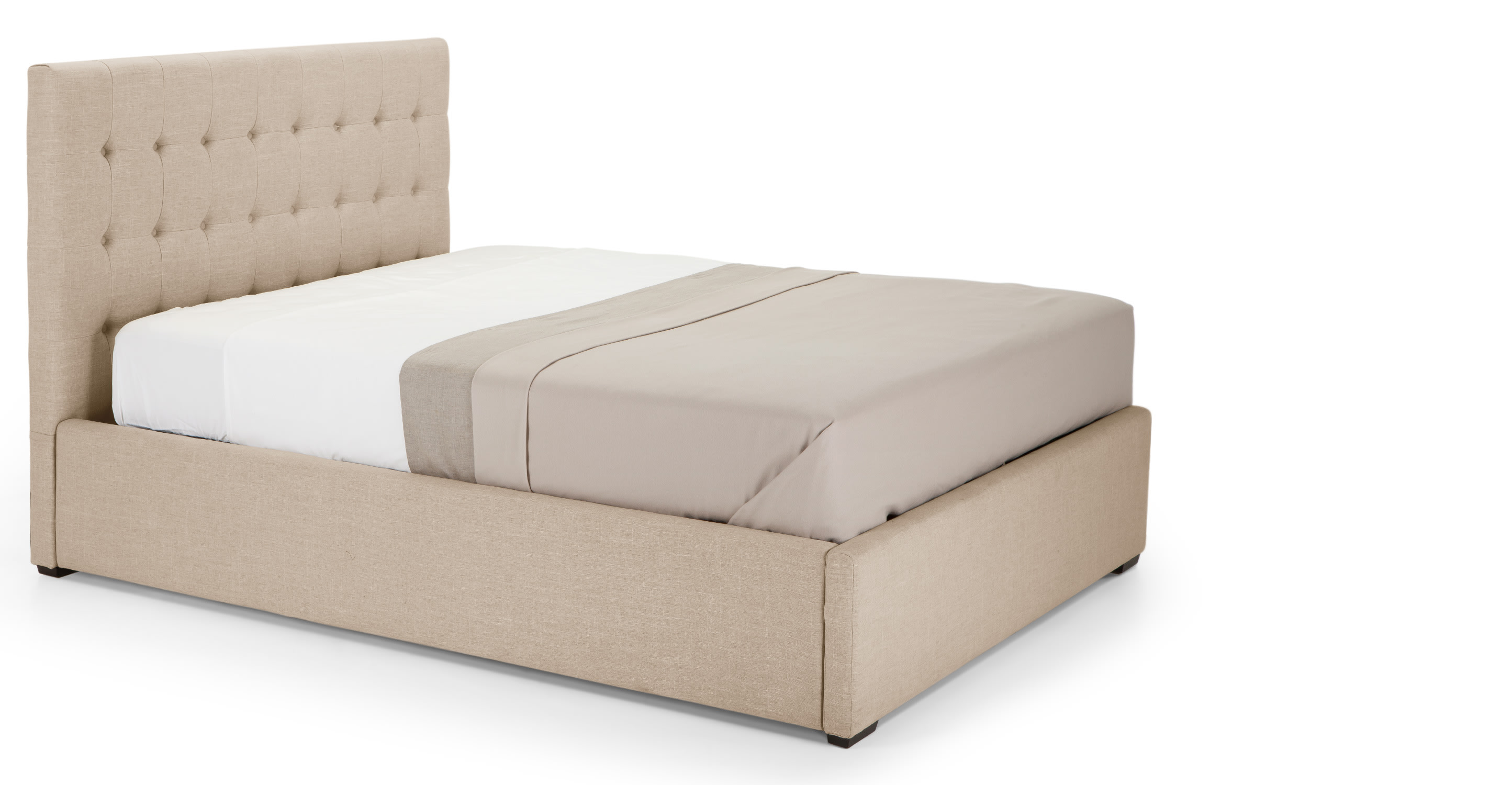 finlay un lit double 140 cm x 200 cm et rangement beige. Black Bedroom Furniture Sets. Home Design Ideas