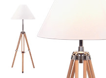 Navy Tripod Floor Lamp, Natural Wood