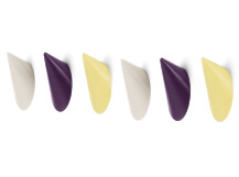 Limpet Hooks, Set of 6, Yellow, Ecru and Plum