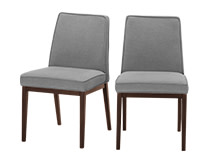 2 x Aveiro Dining Chairs, Dark Stain Oak and Graphite Grey
