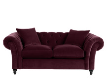 Bardot 2 Seater Chesterfield Sofa, Merlot Velvet