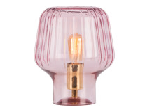 Ewer Table Lamp, Blush Pink Glass and Polished Brass