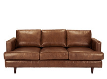 Irvine 3 Seater Sofa, Pecan Brown Premium Leather