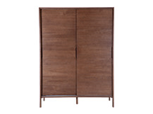 Ledger Sliding Wardrobe, Dark Elm