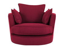Leon Swivel Love Seat, Cranberry Red