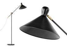 Ogilvy Task Floor Lamp, Matt Black and Antique Brass