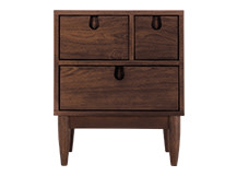 Penn Multi-Drawer Bedside Table, Dark Stain Ash
