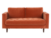 Scott 2 Seater Sofa, Burnt Orange Cotton Velvet
