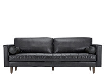 Scott 3 Seater Sofa, Black Premium Leather