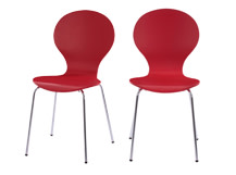 2 x Kitsch Dining Chairs, Scarlet Red