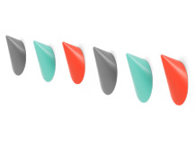 Limpet Hooks, Set of 6, Red, Turquoise and Grey