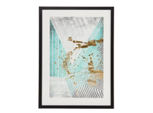 Aurelia Shapes Framed Print, Mineral Green and Gold