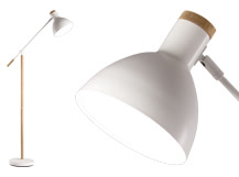 Cohen Floor Lamp, White and Natural Oak