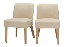 2 x Falan Dining Chairs, Biscuit Beige with Natural Oak Leg