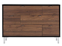 Latymer Multi Chest of Drawers, Walnut Effect and Black Gloss