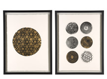 2 x Orbit Gilt Framed Print, 40 x 55cm, Limited Edition by Coup D'Esprit, Gold and White