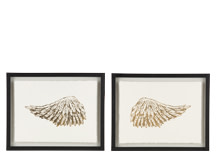 2 x Wings Gilt Framed Prints, 30 x 40cm, Limited Edition by Coup D'Esprit, Gold and White