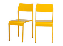 2 x Tecno Dining Chairs, Yellow