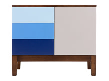 Vernay Sideboard, Dark Stain Ash with Multicolour Blue