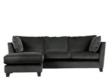 Wolseley Large Corner Sofa, Smoke Grey Velvet